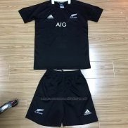 Maillot Enfant Kits Nouvelle-Zelande All Blacks Rugby 2019-2020 Domicile